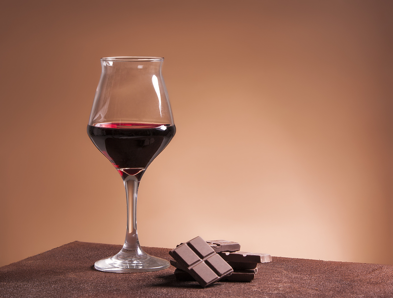 Red wine glass and chocolate