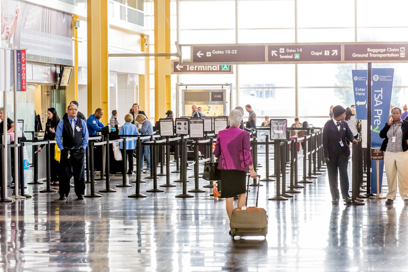 Passengers in the TSA line in an airport
