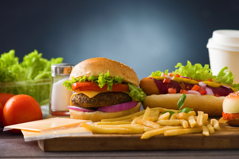 fast food hamburger, hot dog menu with burger, french fries, to