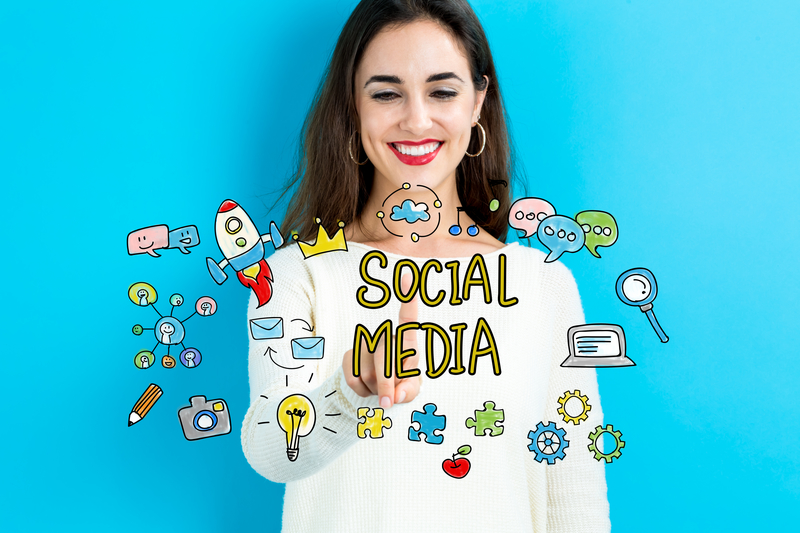 Social Media concept with young woman